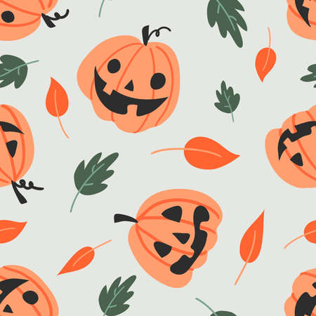 Vector seamless pattern for Halloween. Pumpkin and autumn leaf in doodle kids style. Bright cartoon pattern for Halloween 스톡 콘텐츠 - 154446119