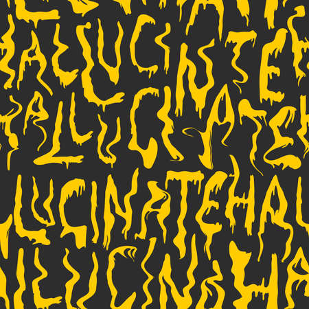 Seamless pattern abstract with hand lettering word hallucinate. Psychedelic trendy fashion pattern in black and yellow colors. Vector design