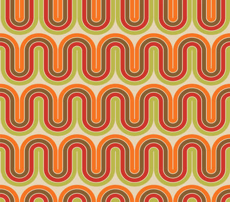 Abstract vector seamless pattern in retro 60s-70s hippie style. Trendy fashion colorful disco ornament.