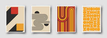 Retro 60s-70s graphic design covers. Cool vintage shape compositions. Trendy colorful bauhaus art templates.