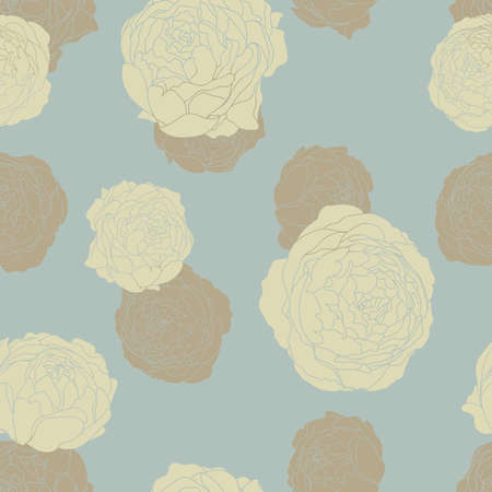 Seamless vector floral wallpaper. Decorative vintage pattern in classic style with flowers. Two tone ornament with beije peony silhouette on blue gray background Illustration
