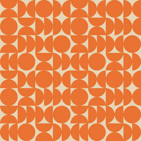 Seamless geometric pattern in retro bauhaus style. Trendy simple colorful texture