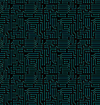 High tech seamless vector texture. Circuit board pattern in modern technology colors Illustration