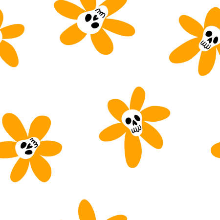 Vector seamless pattern of cute doodle sculls. Halloween simple background