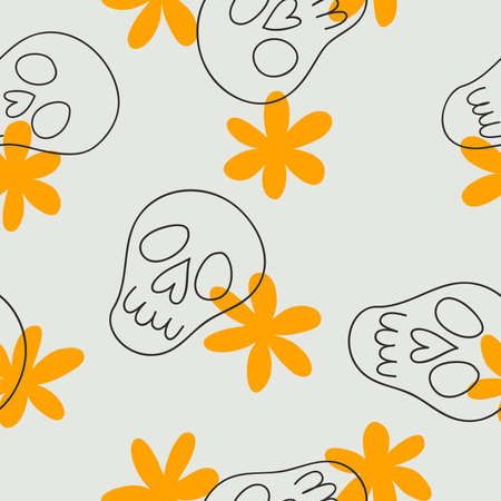 Vector seamless pattern of cute doodle sculls and flowers. Halloween simple background