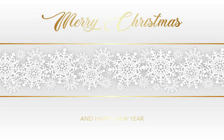 Christmas and New Year Typographical on shiny Xmas background with snowflakes. Merry Christmas card. Illustration