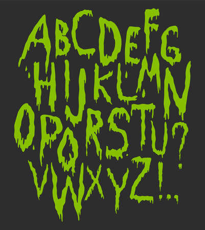 Splash Alphabet, vector blood or slime letters. Hand writting doodle scary font. Halloween party style