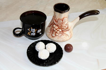 Morning coffee. Morning coffee - the first necessity upon awakening after a nights sleep. Strong, black, freshly brewed coffee with chocolates is a great pleasure!