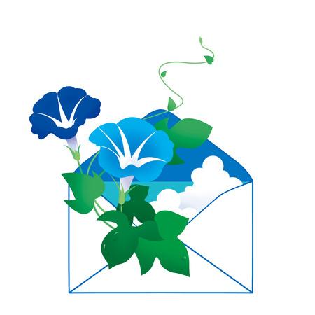 나팔꽃 편지 스톡 콘텐츠
