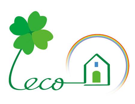 Eco house and rainbow photo
