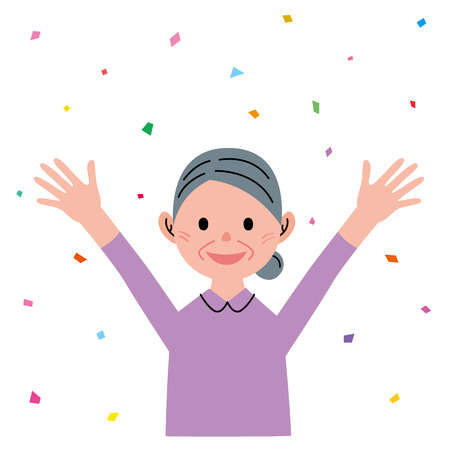 rejoicing: Senior woman raising hands Stock Photo