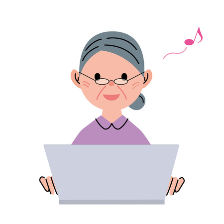 Senior woman computer