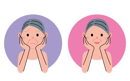 older woman smiling: Senior woman  beauty care Stock Photo