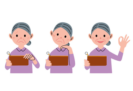 older woman smiling: Senior woman wallet