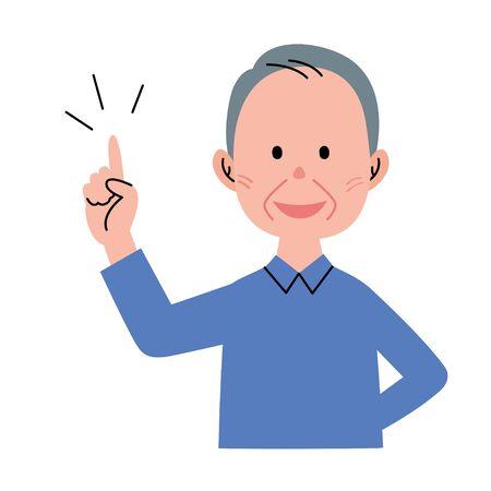 Senior man pointing 版權商用圖片