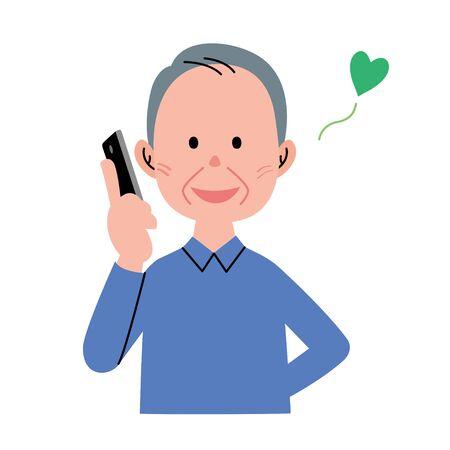 talking cartoon: Senior man phone Stock Photo