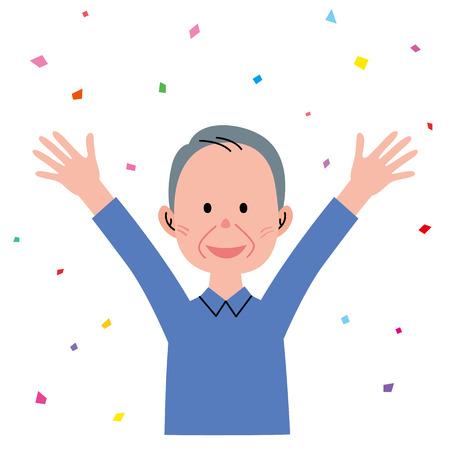 hurray: Senior man raising hands