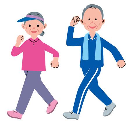 ancianos caminando: Mayores que recorren