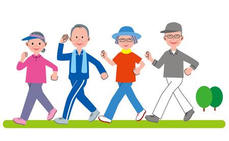 older woman smiling: Senior group walking