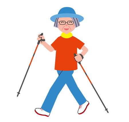 older woman smiling: Nordic walking woman Stock Photo
