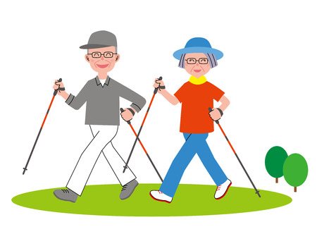 person walking: Nordic walking couple