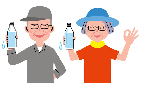 middle aged couple: Senior water Stock Photo