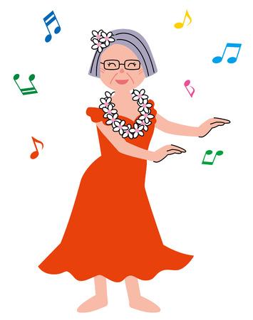 Senior woman hula dance