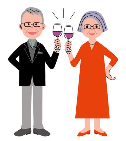 red wine glass: Senior couple wine