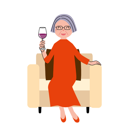 woman middle age: Senior woman wine