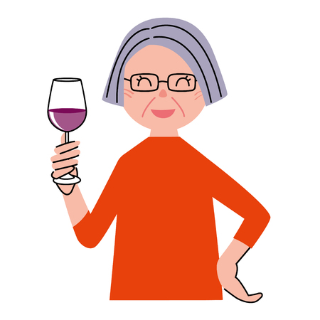 middle age women: Senior woman wine
