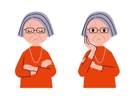 年配の女性が考えて
