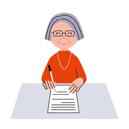 writing letter: Senior woman signature Stock Photo