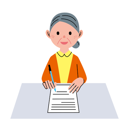 woman middle age: Document senior woman