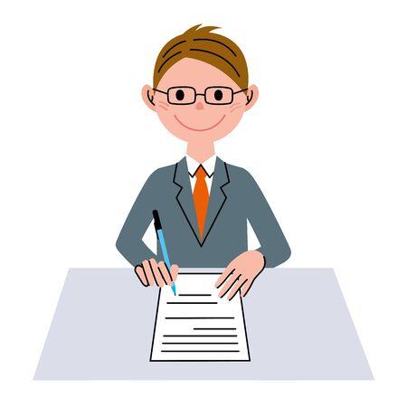 desk work: Document business man Stock Photo