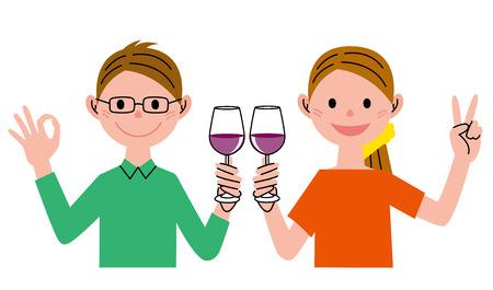 toasting wine: Couple and wine