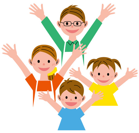 woman arms up: Family Stock Photo