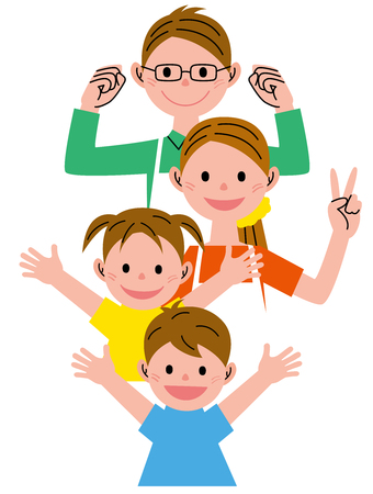 woman arms up: Family four people Stock Photo