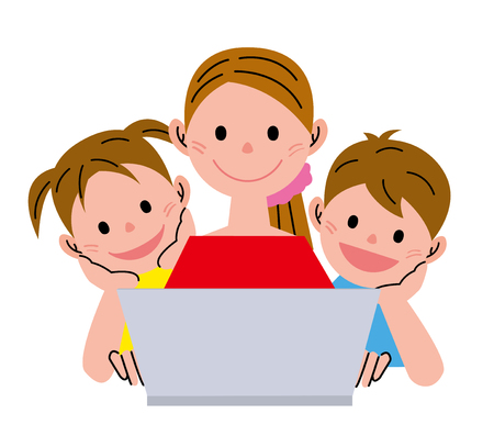 laptop icon: Woman and children  with  notebook Stock Photo