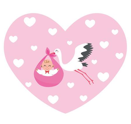 stork flying with bundle: Stork heart girl Stock Photo