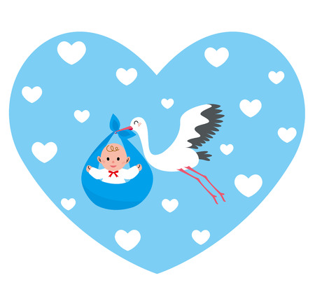 stork flying with bundle: Stork heart boy