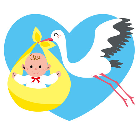 stork flying with bundle: Stork heart Stock Photo