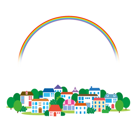 city live: Rainbow and town