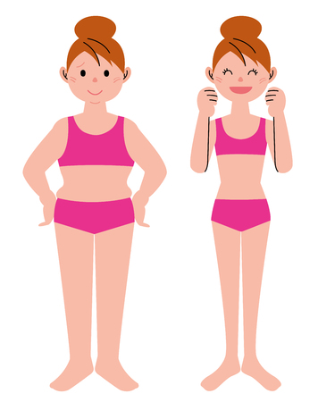 slim woman: Diet concept, before and after