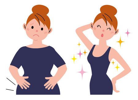 Bevor nach Gewicht Standard-Bild