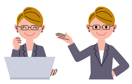 introducing: Businesswoman with laptop computer, introducing Stock Photo