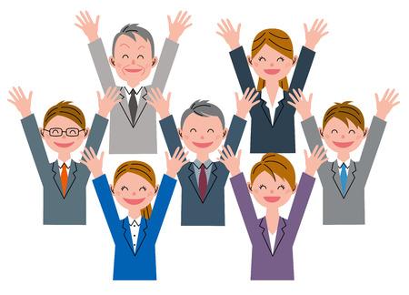 cartoon work: Businessman cheers