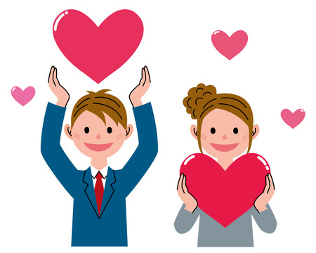 cartoon school girl: Student heart shape Stock Photo