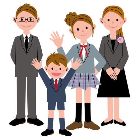 child of school age: Student girl boy parents