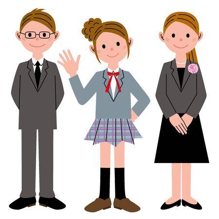 学生の女の子の両親