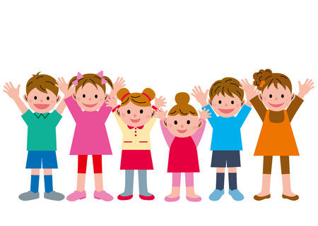6 people: Congratulations! Children 6 people Stock Photo